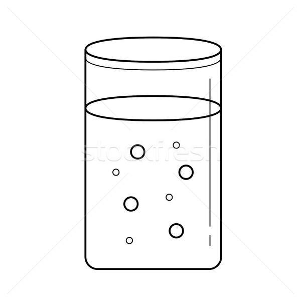 Vidro água vetor linha ícone isolado Foto stock © RAStudio