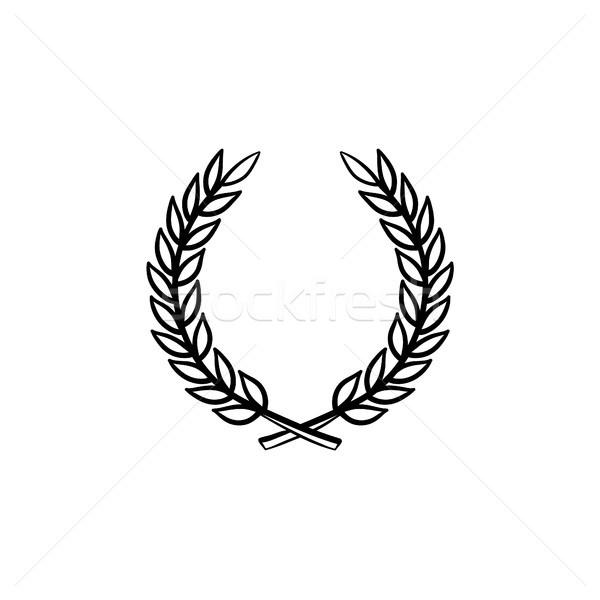 Defne çelenk kroki ikon Stok fotoğraf © RAStudio