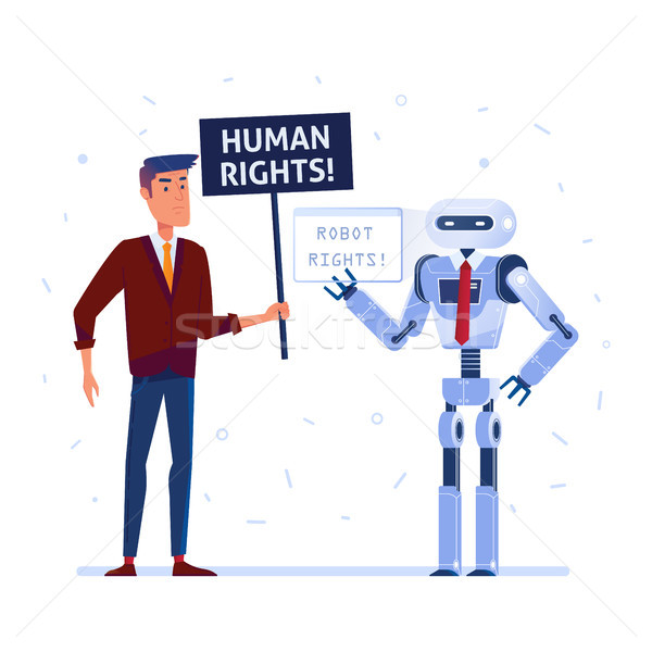 Robot and human fighting for the rights. Stock photo © RAStudio