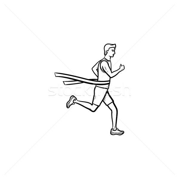 ストックフォト: レース · ランナー · テープ · 手描き