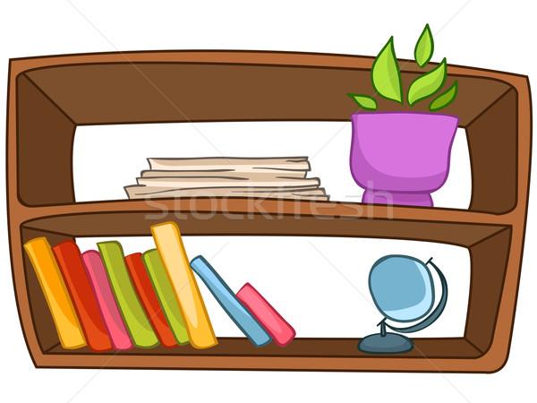 Cartoon home meubels boekenplank geïsoleerd witte Stockfoto © RAStudio