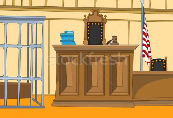 Tribunal Cartoon ley eps 10 justicia Foto stock © RAStudio