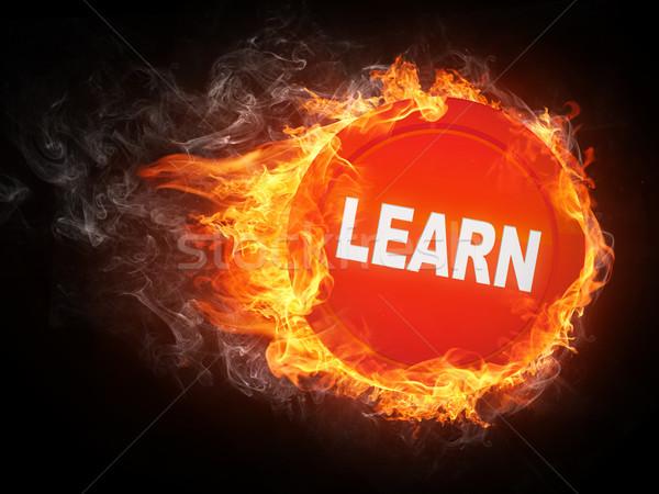 öğrenmek kelime yangın bilgisayar grafikleri arka plan kırmızı Stok fotoğraf © RAStudio
