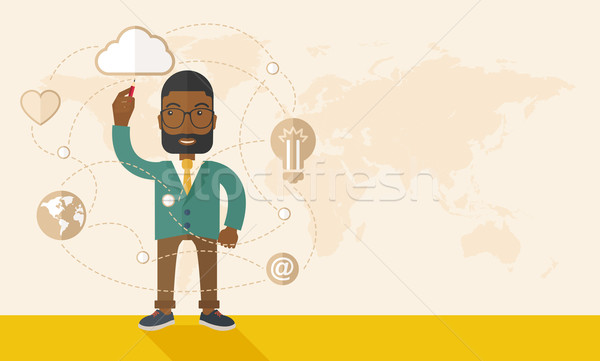 Black man holding a pen making his presentation on glass board. Stock photo © RAStudio