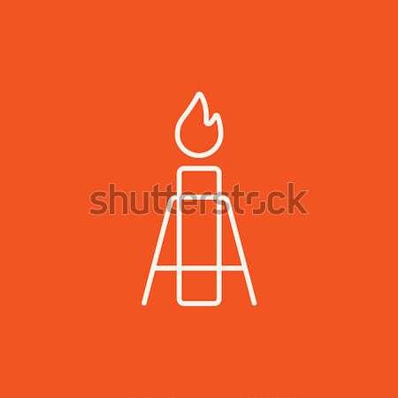 Candle with holder thin line icon Stock photo © RAStudio