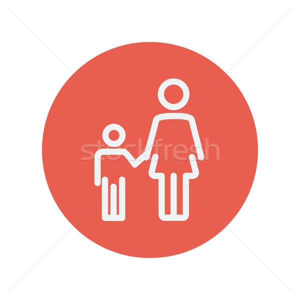 Mother and child thin line icon Stock photo © RAStudio