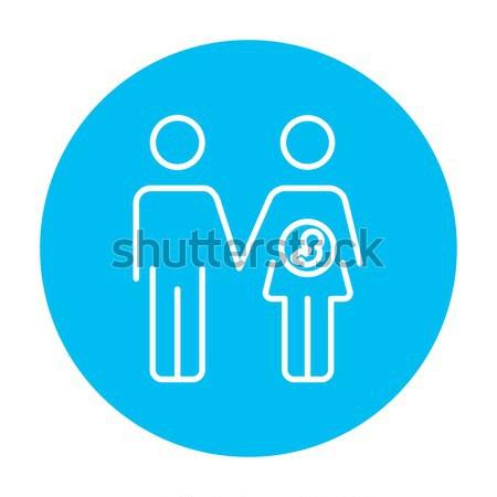 Férj terhes feleség vonal ikon háló Stock fotó © RAStudio