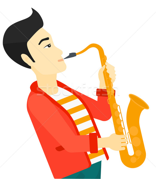 Man spelen saxofoon asian muzikant vector Stockfoto © RAStudio