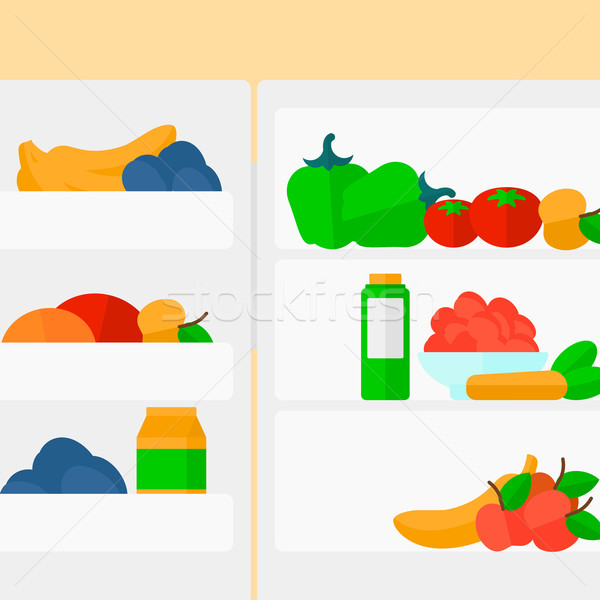 Lodówce pełny owoce warzyw wektora projektu Zdjęcia stock © RAStudio