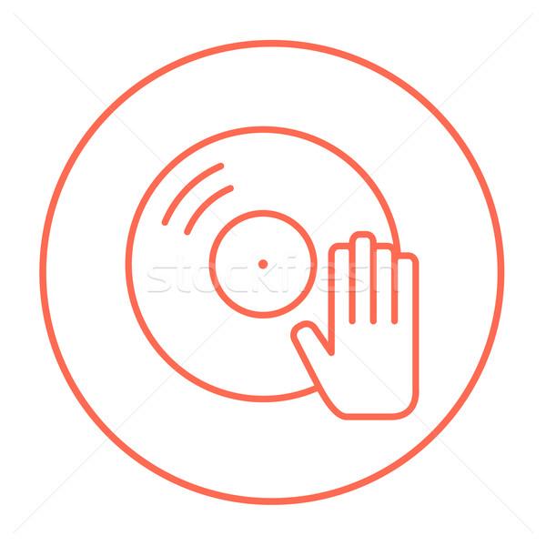 Disc with dj hand line icon. Stock photo © RAStudio