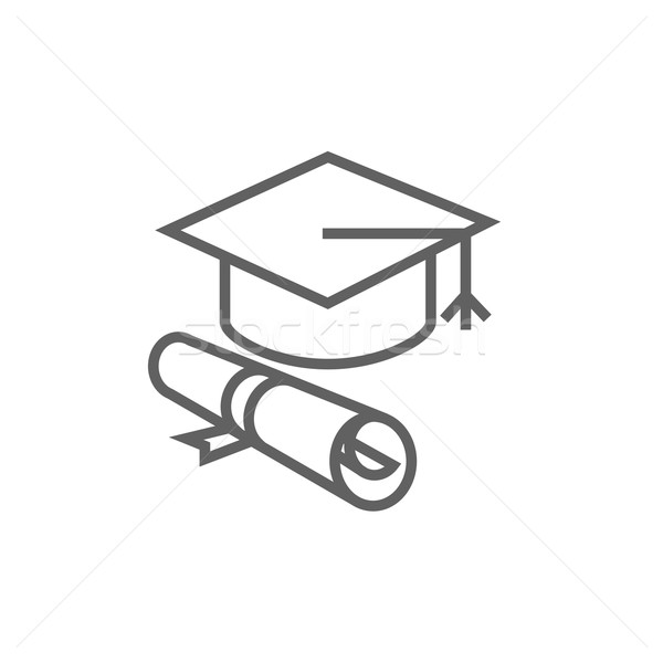 Graduation cap with paper scroll line icon. Stock photo © RAStudio