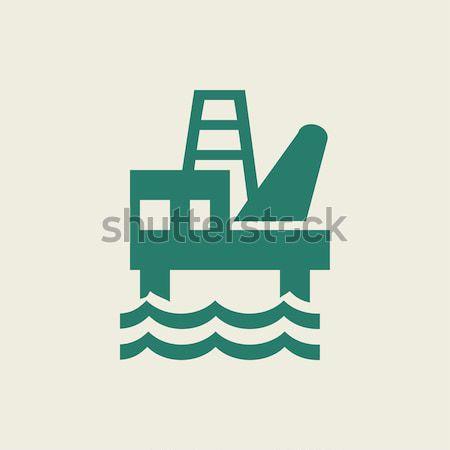 Offshore olie lijn icon hoeken Stockfoto © RAStudio