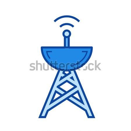 Radar schotelantenne lijn icon hoeken web Stockfoto © RAStudio