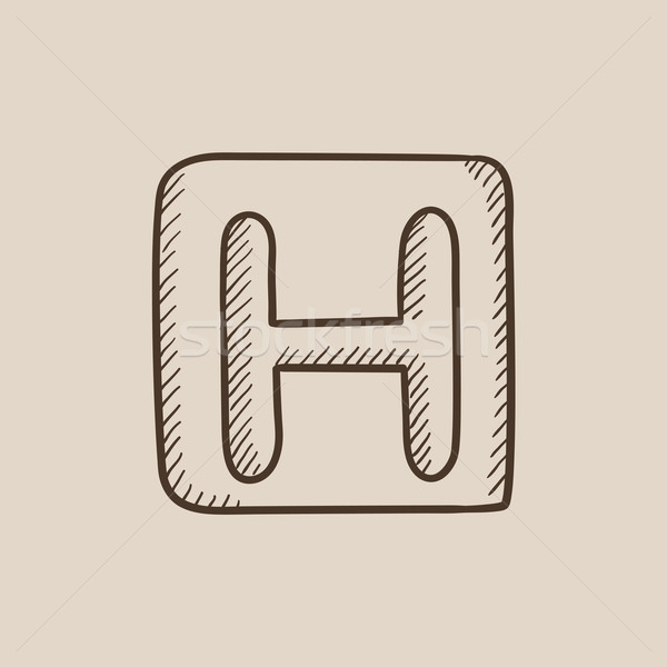 Hospital sign sketch icon. Stock photo © RAStudio