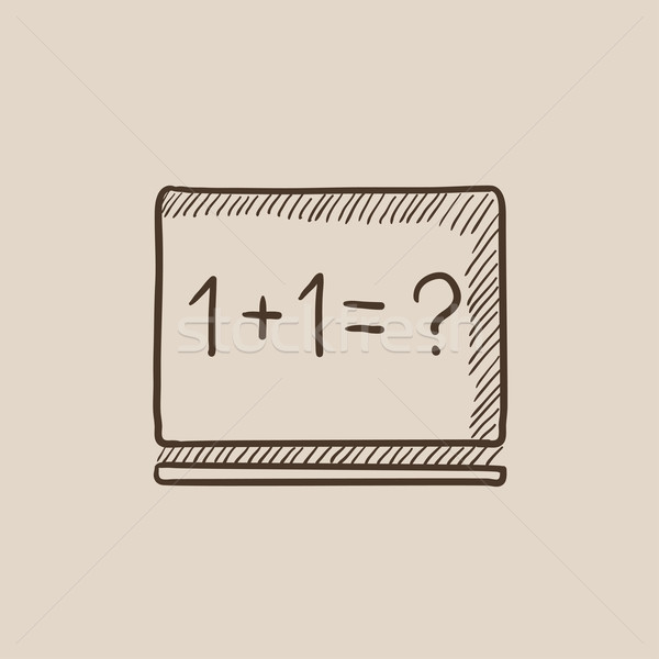 Maths example written on blackboard sketch icon. Stock photo © RAStudio