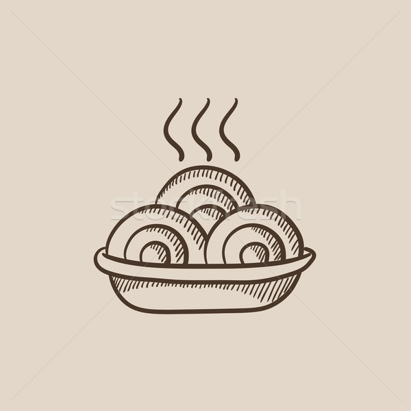 Hot meal in plate sketch icon. Stock photo © RAStudio