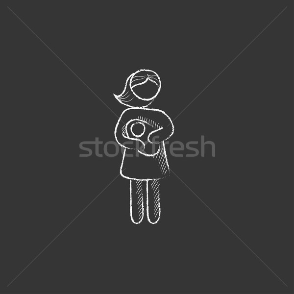 Woman holding baby. Drawn in chalk icon. Stock photo © RAStudio