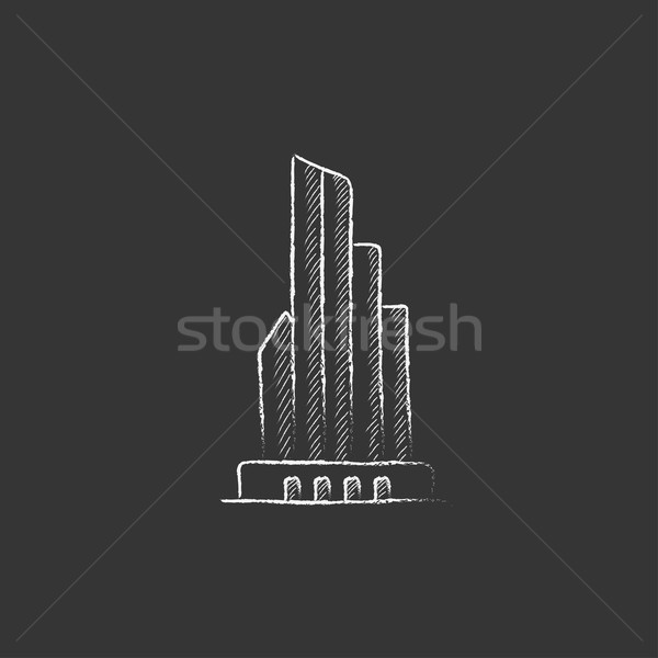 Skyscraper office building. Drawn in chalk icon. Stock photo © RAStudio