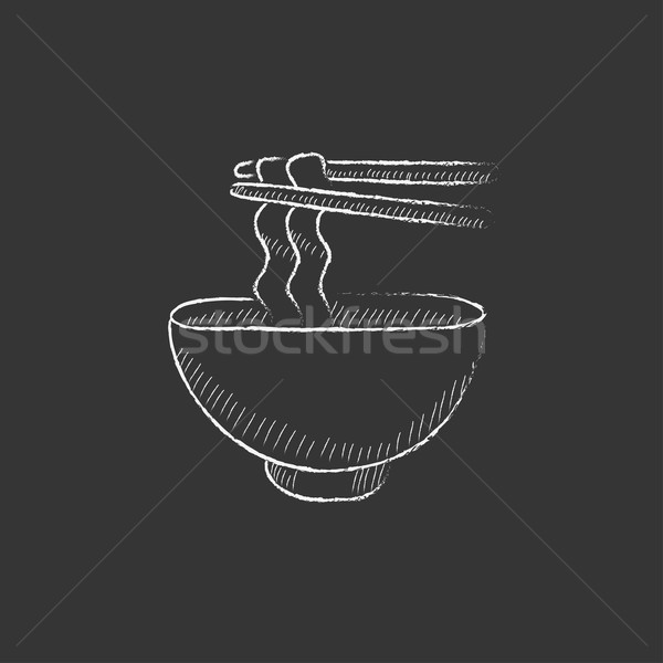 Kom paar eetstokjes krijt Stockfoto © RAStudio