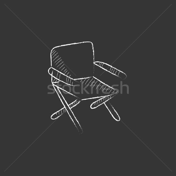 Folding chair. Drawn in chalk icon. Stock photo © RAStudio
