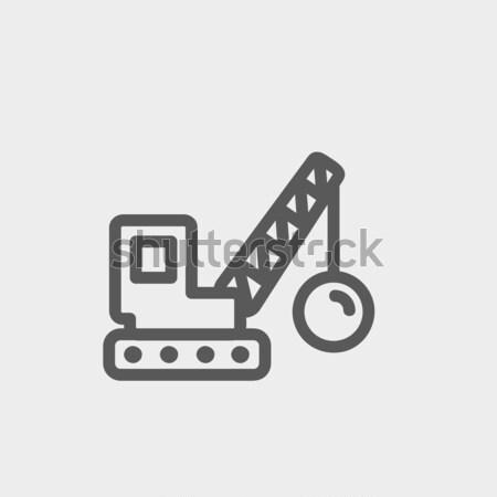 Yıkım vinç hat ikon köşeler web Stok fotoğraf © RAStudio