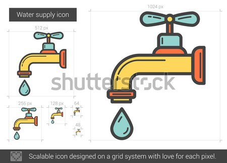 Dripping tap with drop line icon. Stock photo © RAStudio