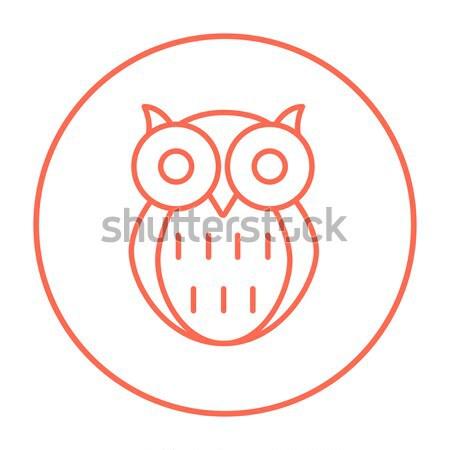 Bagoly vonal ikon sarkok háló mobil Stock fotó © RAStudio