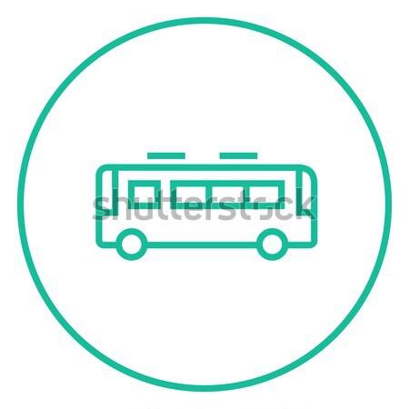 Bus scolaire ligne icône web mobiles Photo stock © RAStudio