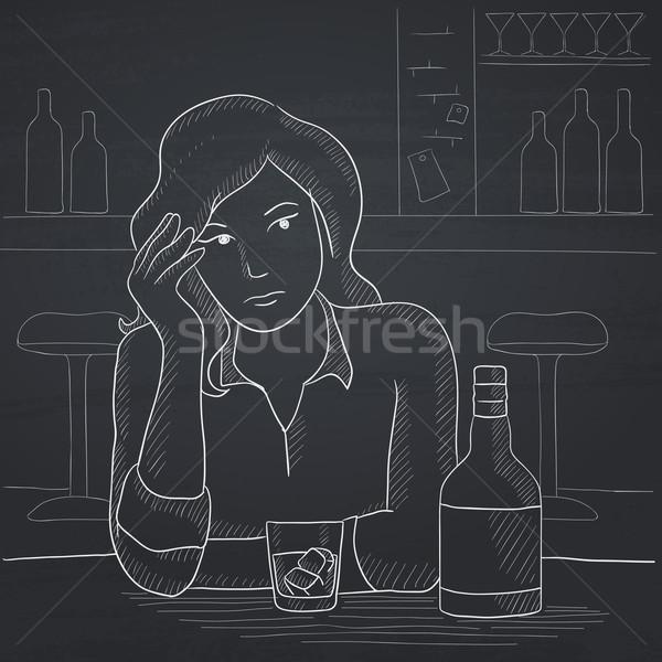 Femme séance bar triste table bouteille Photo stock © RAStudio