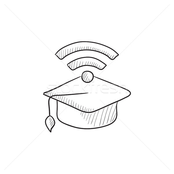 Graduation cap with wi-fi sign sketch icon. Stock photo © RAStudio