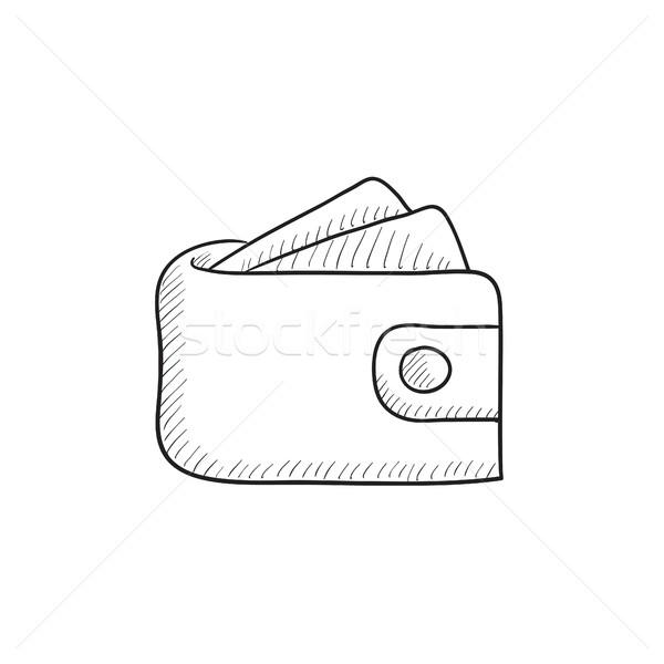 ウォレット お金 スケッチ アイコン ベクトル 孤立した ストックフォト © RAStudio
