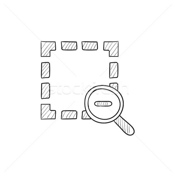 Zoom ki rajz ikon vektor izolált Stock fotó © RAStudio
