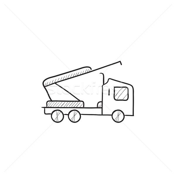 Maszyny Żuraw szkic ikona wektora odizolowany Zdjęcia stock © RAStudio