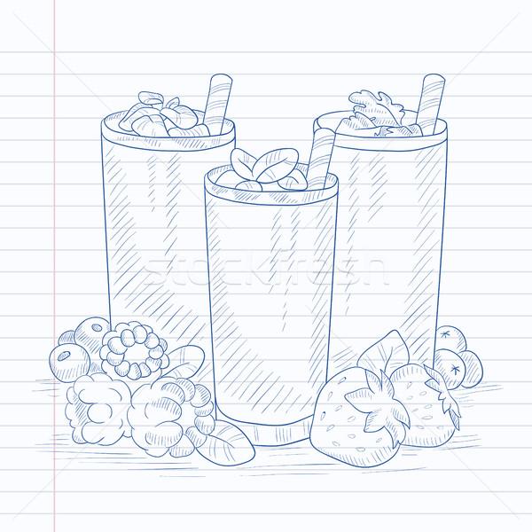 Fresh berries smoothies. Stock photo © RAStudio