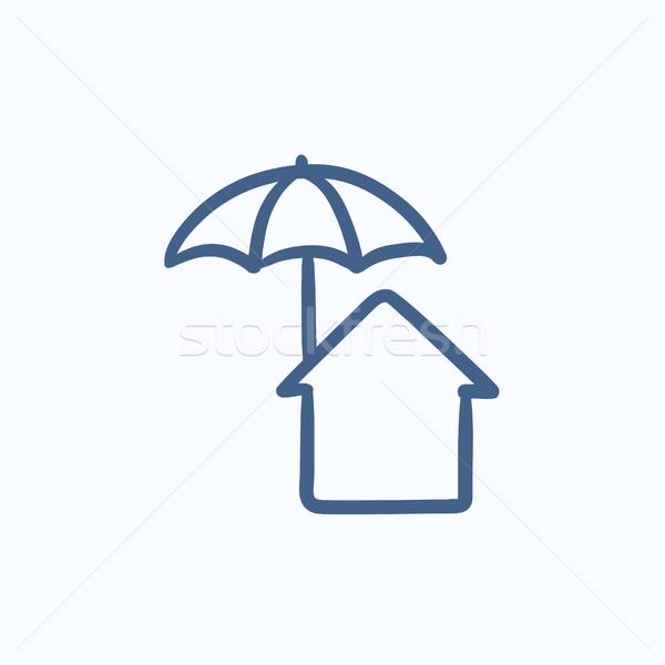 Stock photo: House under umbrella sketch icon.
