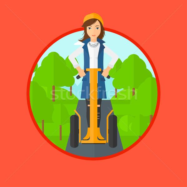 Stockfoto: Vrouw · rijden · elektrische · twee · wielen
