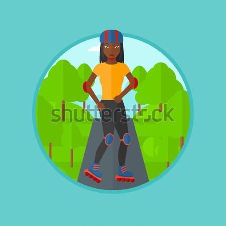 Sporty man on roller-skates. Stock photo © RAStudio