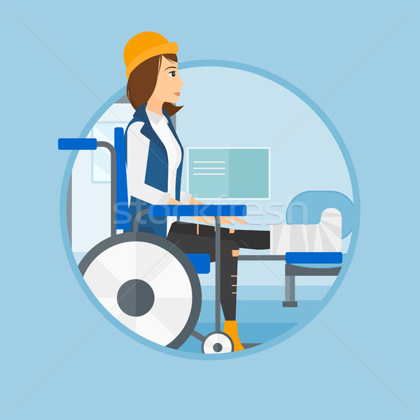 Woman with broken leg sitting in wheelchair. Stock photo © RAStudio