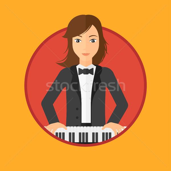 Nő játszik zongora fiatal zenész zongorista Stock fotó © RAStudio