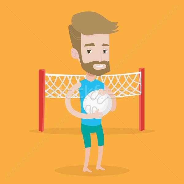 Praia voleibol jogador barba Foto stock © RAStudio