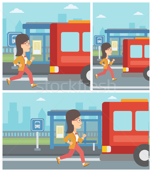 Stock photo: Latecomer woman running for the bus.