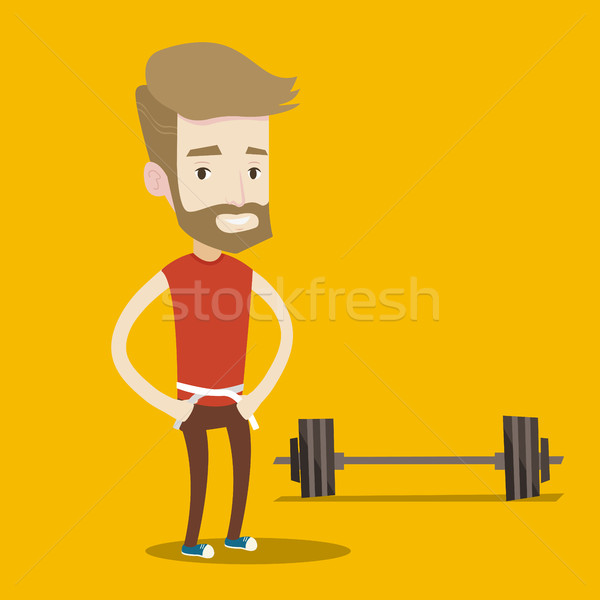 Man measuring waist vector illustration. Stock photo © RAStudio