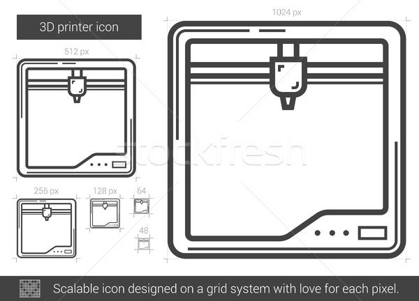üç yazıcı hat ikon vektör yalıtılmış Stok fotoğraf © RAStudio