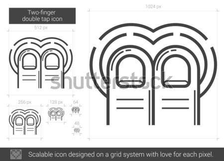 Two-finger double tap line icon. Stock photo © RAStudio