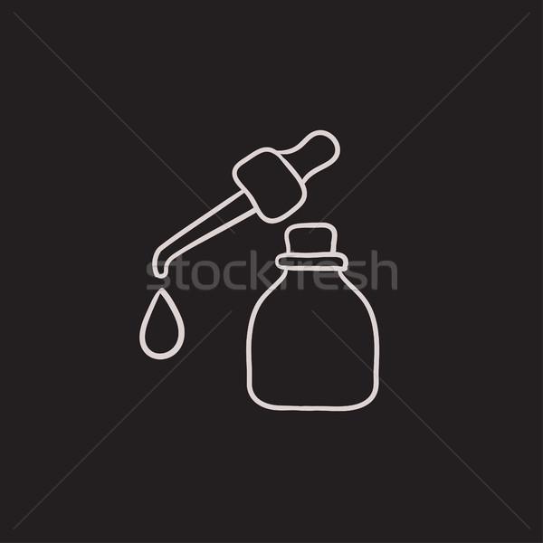 Fles schets icon drop vector Stockfoto © RAStudio