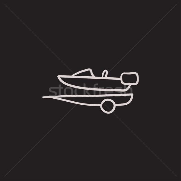 Boat on trailer for transportation sketch icon. Stock photo © RAStudio