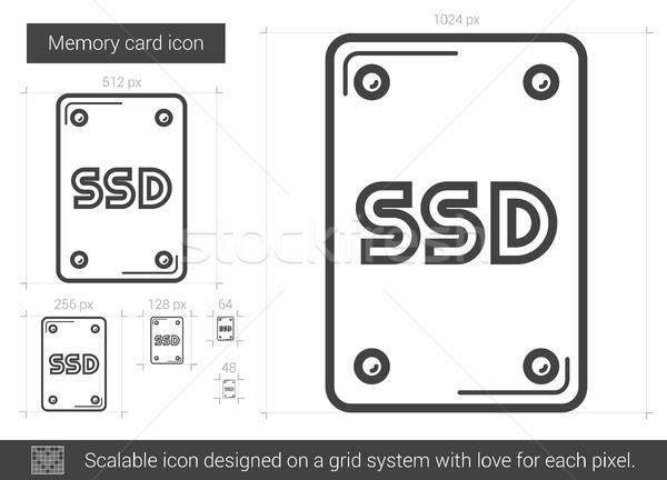 Emlék kártya vonal ikon vektor izolált Stock fotó © RAStudio