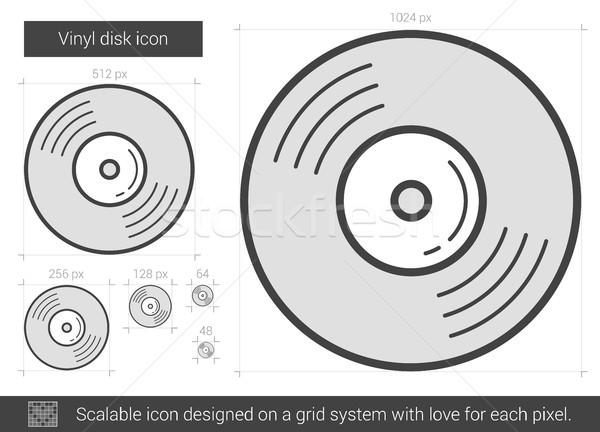 виниловых диск линия икона вектора изолированный Сток-фото © RAStudio