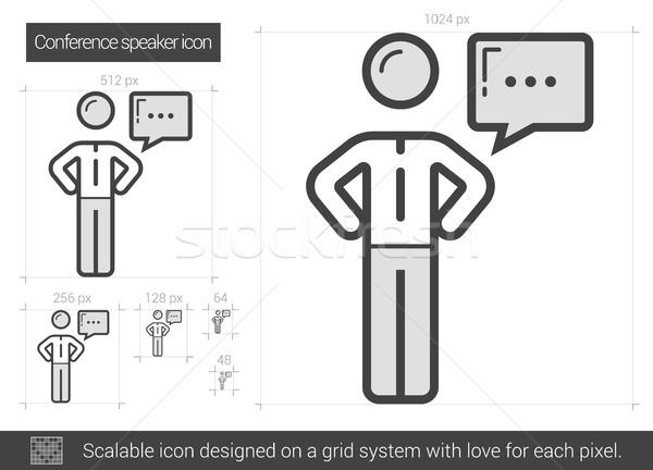 Conferencia orador línea icono vector aislado Foto stock © RAStudio