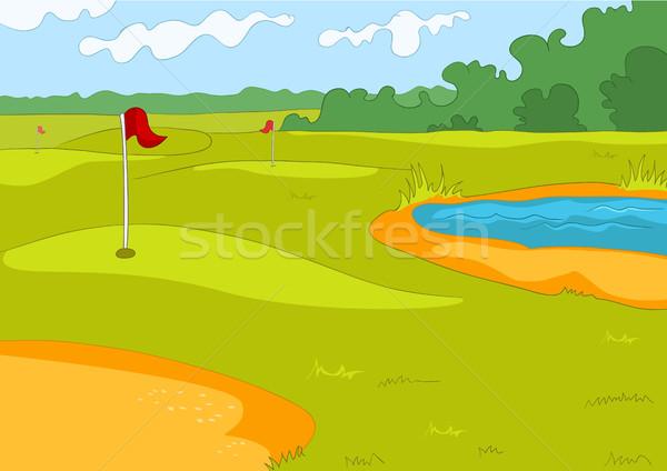 Desenho animado campo de golfe esportes infra-estrutura colorido Foto stock © RAStudio